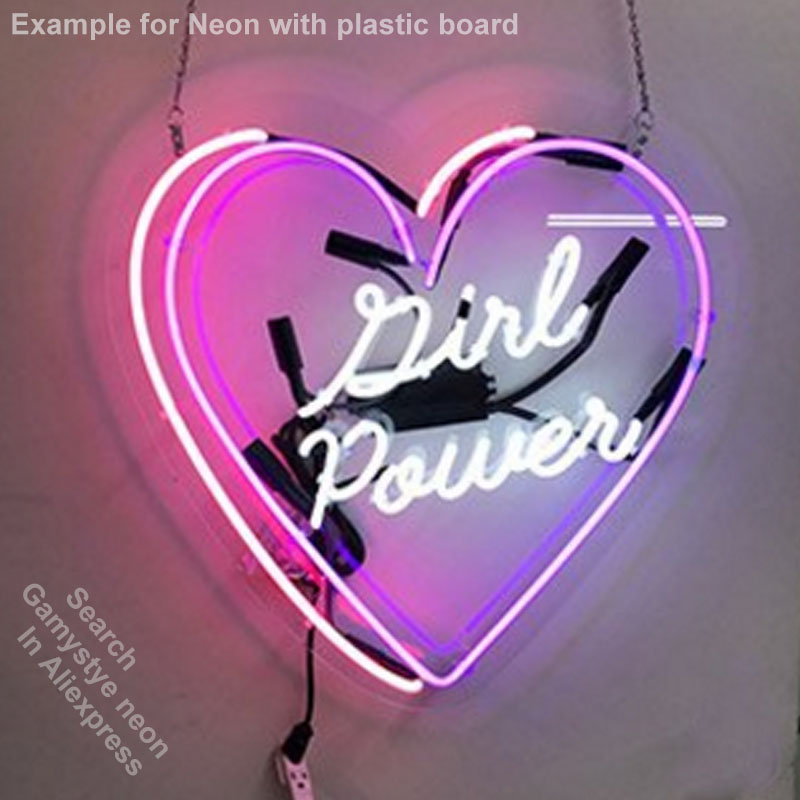 Enseigne au néon mon endroit heureux Tube de verre ampoules au néon signe Art Bar chambre affichage accessoires néon lumière décor chambre restaurant mur - 3