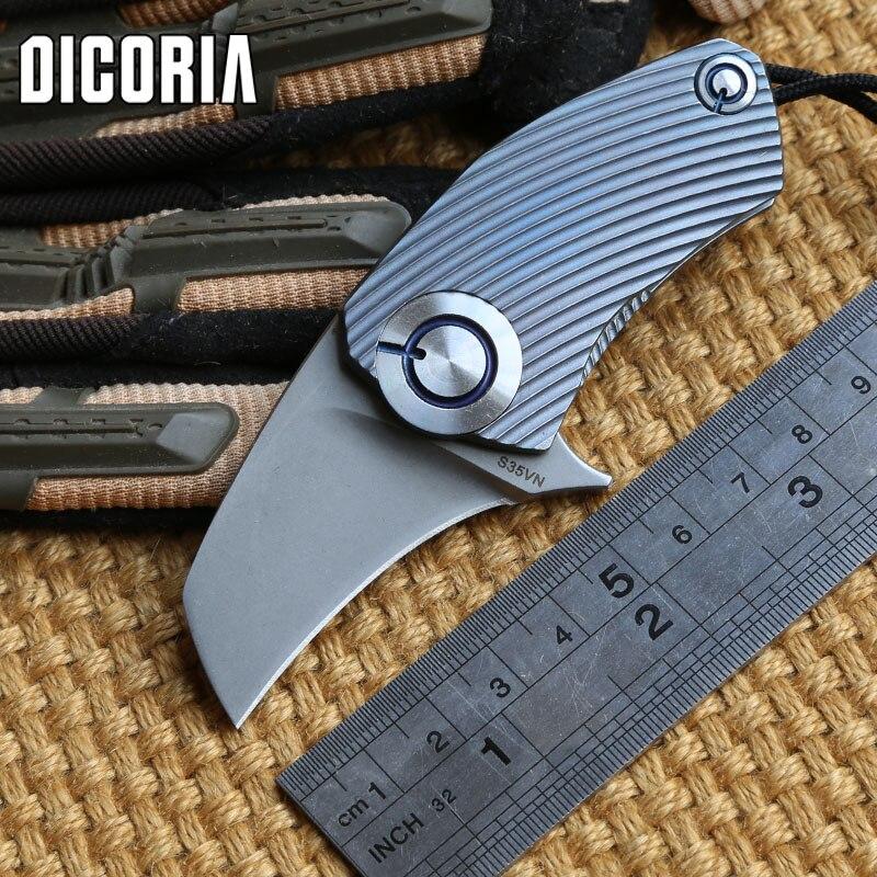 DICORIA SiDis Parrot ball bearing S35VN blade Titanium Handle folding knife Hunting tactical outdoor gear camp knives EDC tool