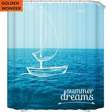 Beautiful Shower Curtain For The Bathroom Marine Sailing Sea Blue Curtains Waterproof Thick Cloth Data Printing