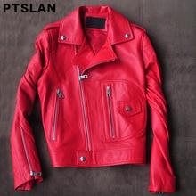 Ptslan 2017 women's real leather jacket genuine lambskin Casual Motorbike  jackets