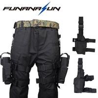 Adjustable Military Pistol Drop Leg Thigh Holster Left Right Hand Gun Flashlight Magazine Pouch Quick Release