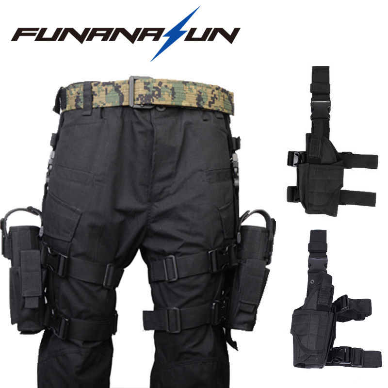 Adjustable Military Pistol Drop Leg Thigh Holster Left/Right Hand Gun Flashlight Magazine Pouch Quick Release Magic Strap adjustable quick release plastic tactical puttee thigh leg pistol holster pouch for usp45 black page 6