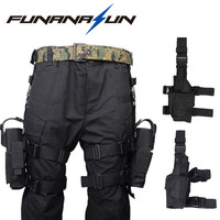 Adjustable Military Pistol Drop Leg Thigh Holster Left Right Hand Gun Flashlight Magazine Pouch Quick Release