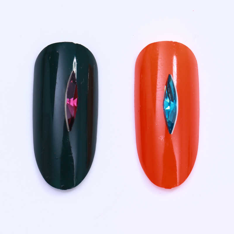1 Box kolorowe Marquise Opal cyrkonie do paznokci płaskie plecy lśniące naturalne żywiczne 3D zdobienie paznokci dekoracje w kole