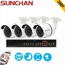 Sunchan 4ch 3-мегапиксельная tvi cctv система hdmi гибридный видеонаблюдения dvr 4 шт. 3-мегапиксельной 2018*1536 ик открытый камеры безопасности камеры наблюдения системы