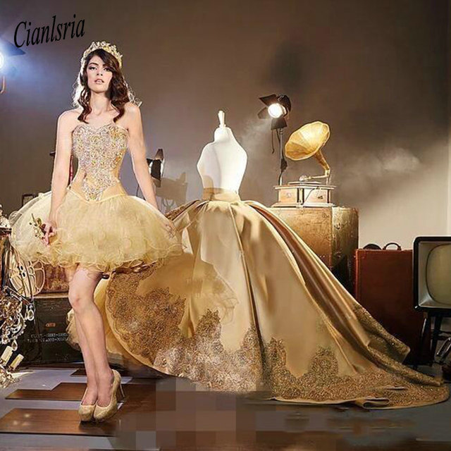 2019 Gold Quinceanera Dresses with Detachable Skirt Lace Appliques Beads Tiered Sweetheart 16 Sweet Party Gowns Pageant Dress 1