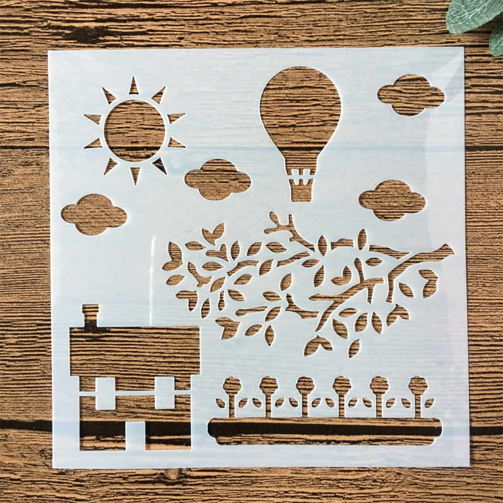 New 13cm Pastoral Farm Hot Balloon DIY Layering Stencils Painting Scrapbook Coloring Embossing Album Decorative Card Template