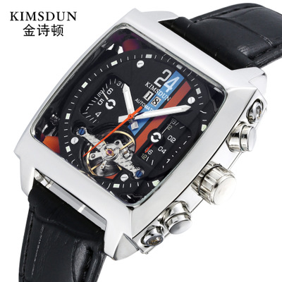 Sport fashion explosion section square belt tourbillon automatic mechanical watch waterproof business men watchSport fashion explosion section square belt tourbillon automatic mechanical watch waterproof business men watch
