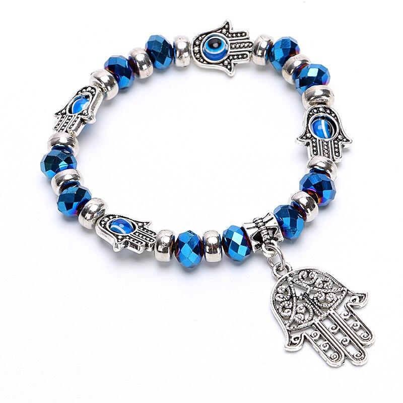 Fashion Blue Green Turkish Evil Eye Bracelets Elastic Hamsa Charm Bangle For Women Jewelry Pulseras Mujer Mano De Fatima in Strand Bracelets from Jewelry Accessories