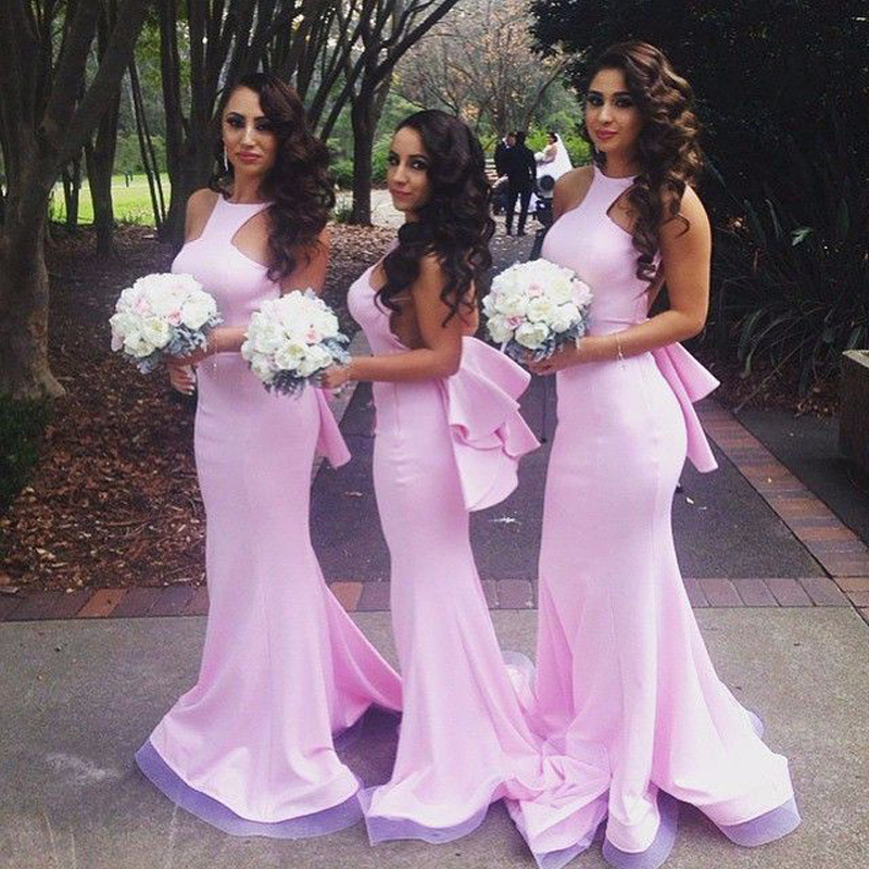 Elegant High Neck Sleeveless Pink Long Mermaid Bridesmaid Dresses 2017 Sexy Backless Cheap Wedding Guest Party Dresses