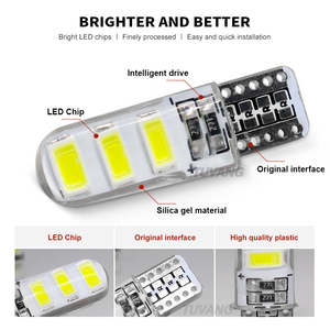 Image 3 - 5x Newest T10 194 168 W5W 6Smd 5730 Car Led Silicone Shell Auto Dome Parking Lights Car Side Wedge Light Lamp Bulb Car Styling