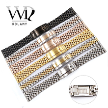 Rolamy 20 22mm Watchband Strap For Omega IWC Tudor Seiko Breitling Wrist Bracelet Stainless Steel Glide Lock Replacement