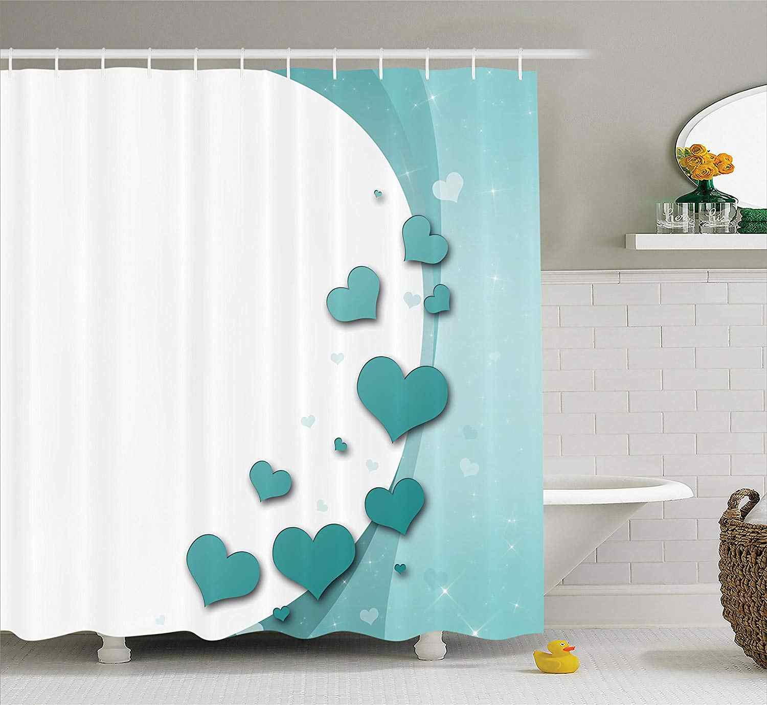 Valentines Day Turquoise Shower Curtain Love Romance With Hearts Stars Wedding Happiness Theme Bathroom Decor Curtains Aliexpress