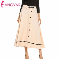 ANGVNS Vintage Skirt Lady Elegant Big Swing Skater Skirt For Women 4 Color Bow Leather Casual