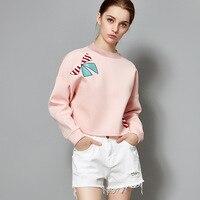 Cotton Full sleeve loose plus size pullovers short sweatshirts 2018 new high quality women autumn casual sweatshirts