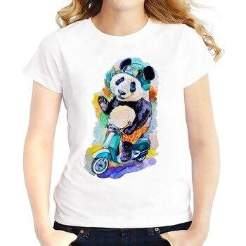 cute panda on scooter t shirt WOMEN new fashion white casual Tee shirt femme kawaii Raccoon t-shirt foxgirl in flower tshirts