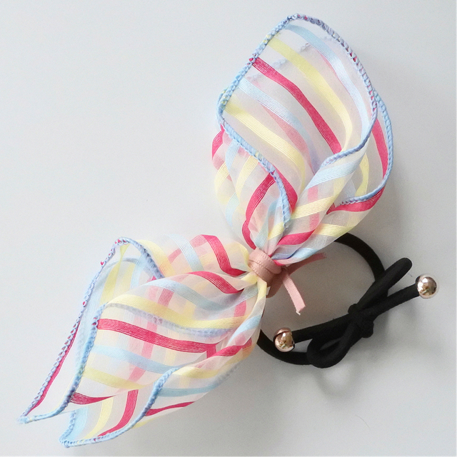 Colored Striped Rabbit Ear With Tiny Bow Hair Elastic Bands For