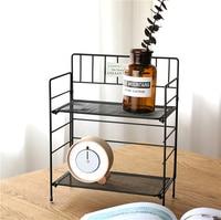 A1 Wrought iron storage rack bathroom desktop cosmetic skin care organizer foldable double kitchen storage shelf wx11011008