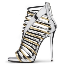 Newest Style Women Silver Gold Mixed Color Narrow Band Sandals Fashion Back Zipper Hollow Out High Thin Heel Party Shoes