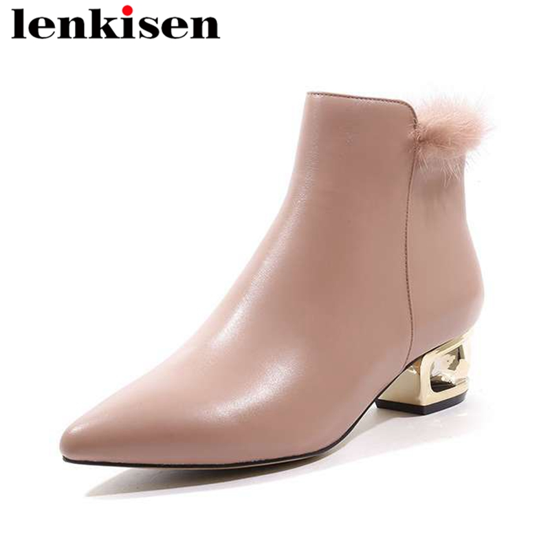Lenkisen mink fur pointed toe med fretwork heels zipper scrub natural leather charming girls dress women comfort ankle boots L18Lenkisen mink fur pointed toe med fretwork heels zipper scrub natural leather charming girls dress women comfort ankle boots L18