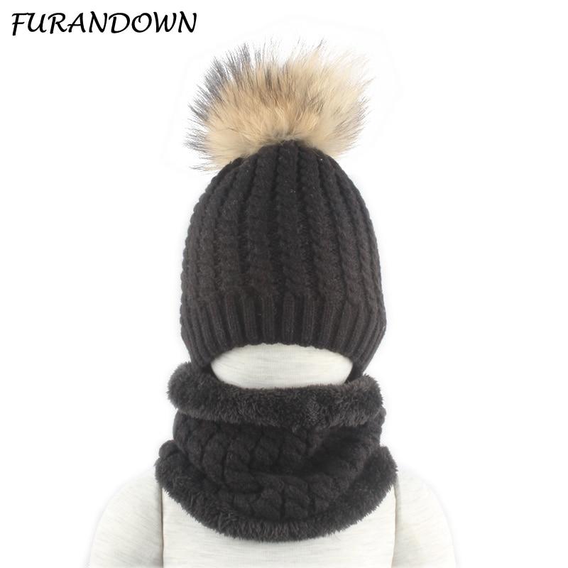 Winter Fleece Inside Hat And Snood For Children 100% Real Fur Pompom Hat And Scarf Set Boys Girls Cap