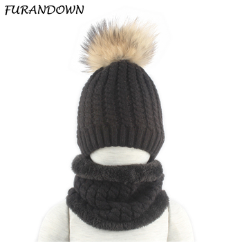 Winter Fleece Inside Hat and Snood For Children 100% Real Fur Pompom Hat and Scarf Set Boys Girls Cap