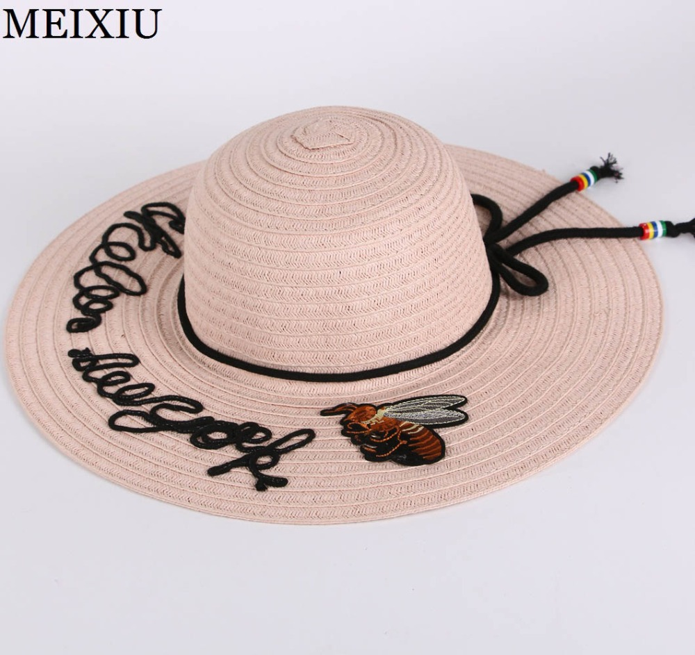 2017 New Bee & Letter Embroider Wide Brim Bowknot Summer Beach Straw Hats  Leather Cord Elegant