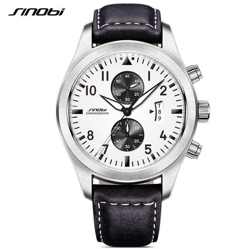 SINOBI Mens Military Chronograph Wrist Watches Date Leather Clock Luxury Brand Male Sports Shock Geneva Quartz Wristwatches 2017 one new in box m plc ax40y50c fy03