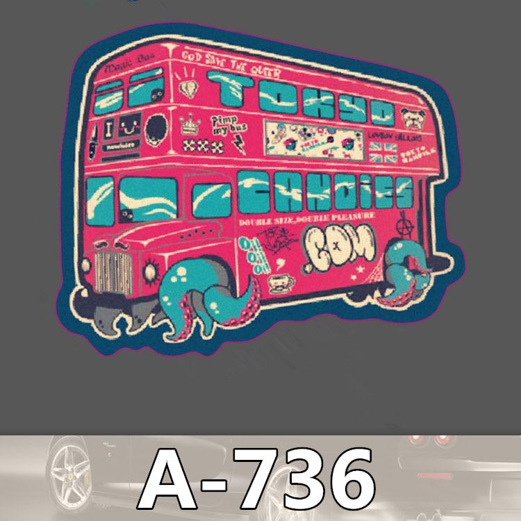 Bevle A-736 Double-Decker Bus Waterproof Cool DIY Stickers For Laptop Luggage Fridge Skateboard Car Graffiti Cartoon Sticker