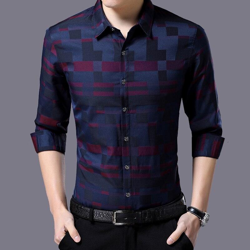 Liseaven Men's Shirt Brand New Men Shirts Full Sleeve Dress Shirt Turn-down Collar Male Casual Shirt Mens Clothing 3
