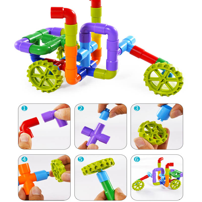 Купить с кэшбэком New Colorful Educational Water Pipe Building Blocks Toys For Children DIY Assembling Pipeline Tunnel Block Model Toy For Kids