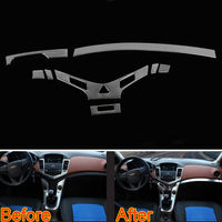 8Pcs Car Styling Interior Dashboard Gear Center Console Panel Strip Cover Trim Sticker Steel Fit For Chevrolet Cruze 2009 2014