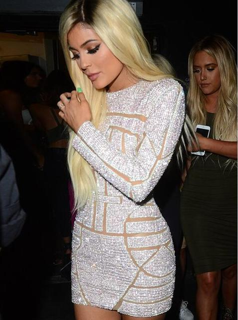 d4aa4022caed Kylie Jenner Sexy Mini Celebrity Dresses 2018 Full Sleeve Pattern Sequins  New Short Prom Dresses Backless