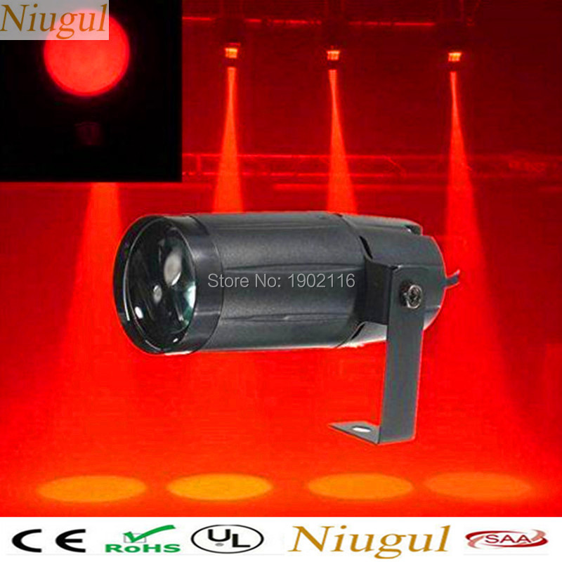 Niugul Free Shipping 1PCS DJ Light 5W LED Pinspot Lights RED Color LED Beam Party disco Light/Christmas lamp FOR KTV glass ball
