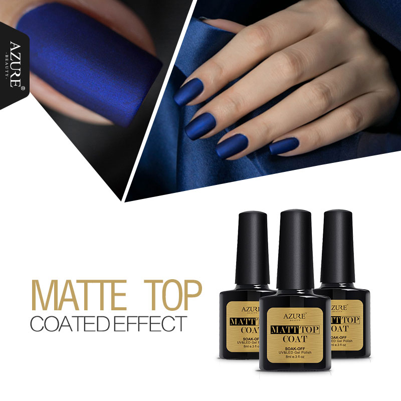 Azure Beauty 8ml Matte Top Coat Nail gel polish Art Top Coat Gel Lacquers Long Lasting UV Led and 12ml Color Nail Gel Polish Set