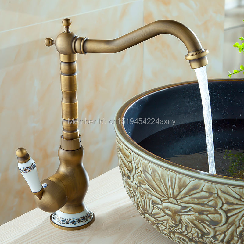 Free Shipping Deck Mounted Bathroom Sink Mixer Faucet Antique Brass Single Ceramic Handle Hot & Cold Water Mixer Tap GI08 flg bathroom faucet antique brass all copper double handle 360 degree rotating deck mounted cold hot sink mixer water tap 10703
