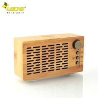 LEICKE Bamboo Bluetooth Speaker Portable Wireless Speaker with 3D Stereo Music Surround FM Radio NFC Hands Free Calls Aux Input