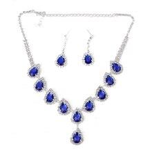 Necklace Earrings Jewelry Set Waterdrop Shape Rhinestone Blue