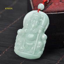 KYSZDL High quality hand-carved natural stone pendant Guan gong Lucky Mens patron saint necklace jewelry gifts