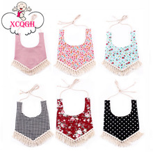 XCQGH Baby Bibs Waterproof Cotton Tassel Girl Bib Saliva Towel Infant Toddler Bib Baby Bandana Bibs Burp Cloth Feeding Apron(China)