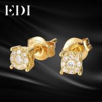 Серьги гвоздики EDI с бриллиантами из желтого золота 10 к, 0,3 cttw G/SI