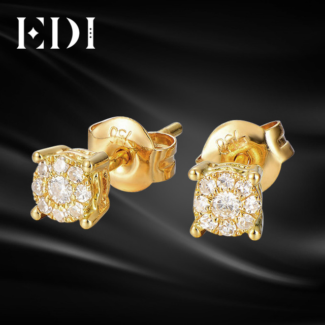 f09a82be8ac3d US $608.0 |EDI Diamond Earrings in 10K Yellow Gold Clasic Brilliant 0.3cttw  G/SI Diamond Halo Stud Earrings -in Earrings from Jewelry & Accessories on  ...