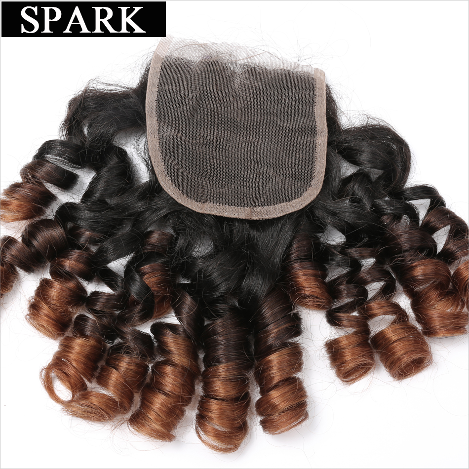 Spark 4x4 Ombre Brazil Remy Hair Bouncy Curly Closure 10-22inch 1b / - Rambut manusia (untuk hitam) - Foto 1