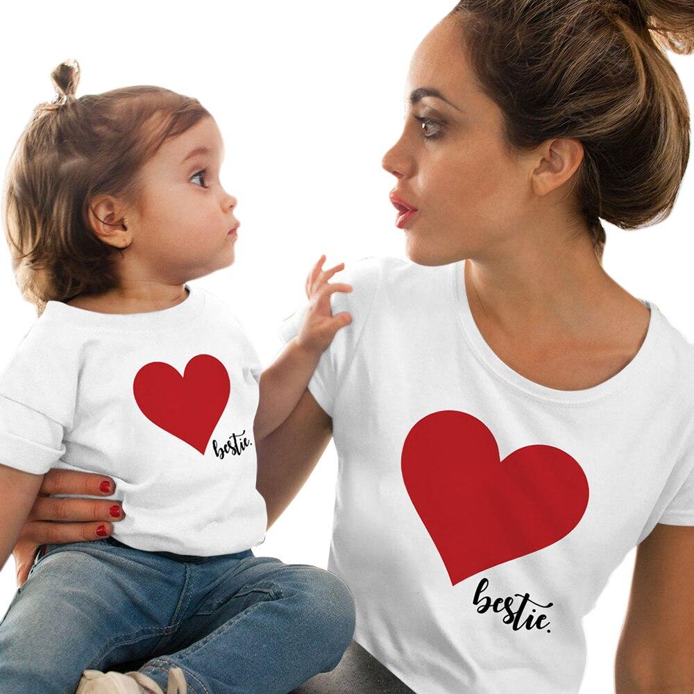 CALOFE/Одежда для мамы и дочки; футболка; Семейные комплекты; летняя футболка с принтом «любовь»; одежда для мамы и дочки; семейный образ