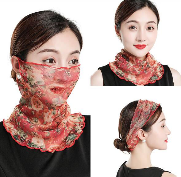 2019 LZIXX Sun Protection Variety Of Gold Silk Small Bib Small Silk Scarf Neck Cover Sunscreen Mask Scarf Lazy Collar