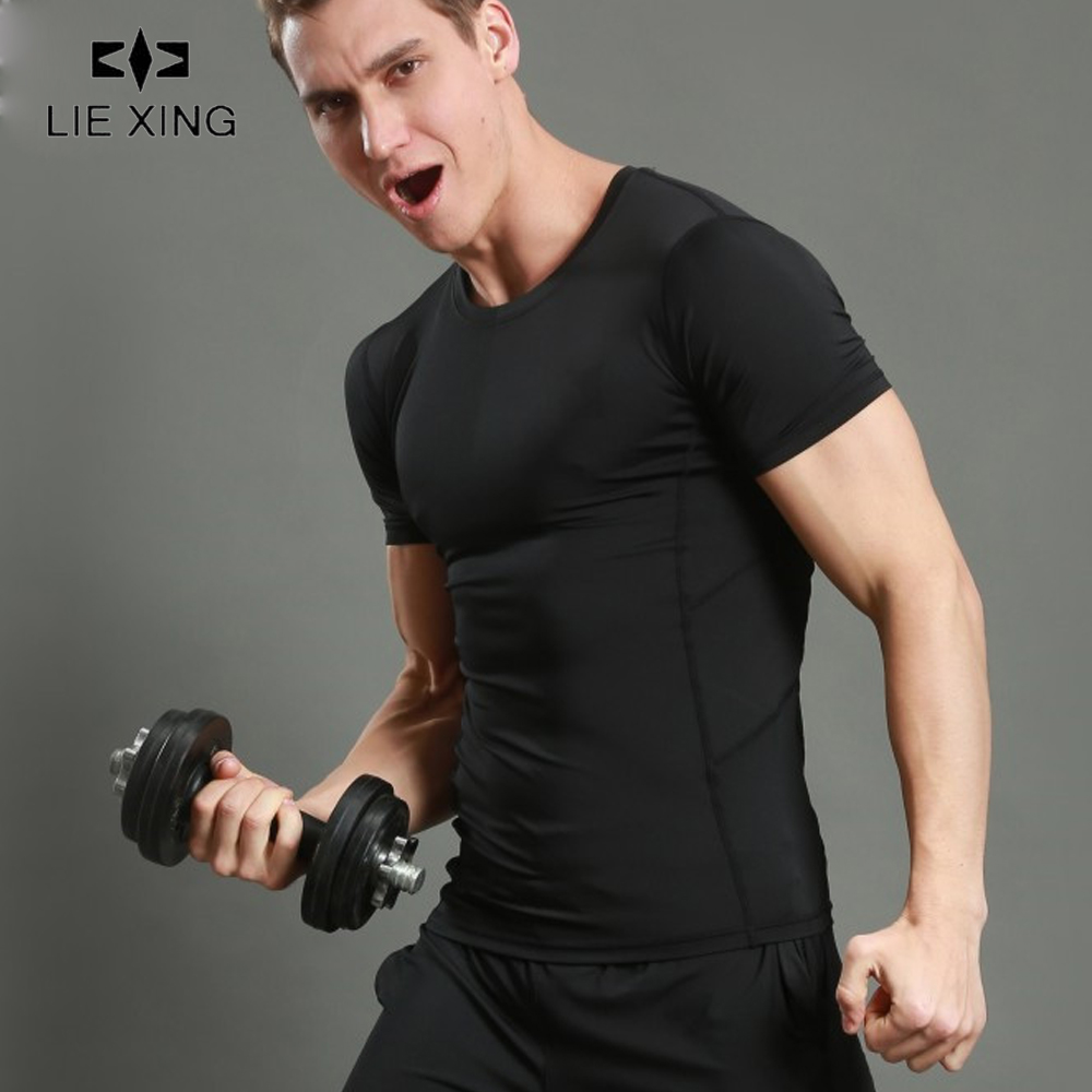 LIEXING compresion hombre shirt Quick Dry Men 39 s Short Sleeve T Shirts Running Fitness Tights Tennis Soccer Gym Sportswear in Running T Shirts from Sports amp Entertainment
