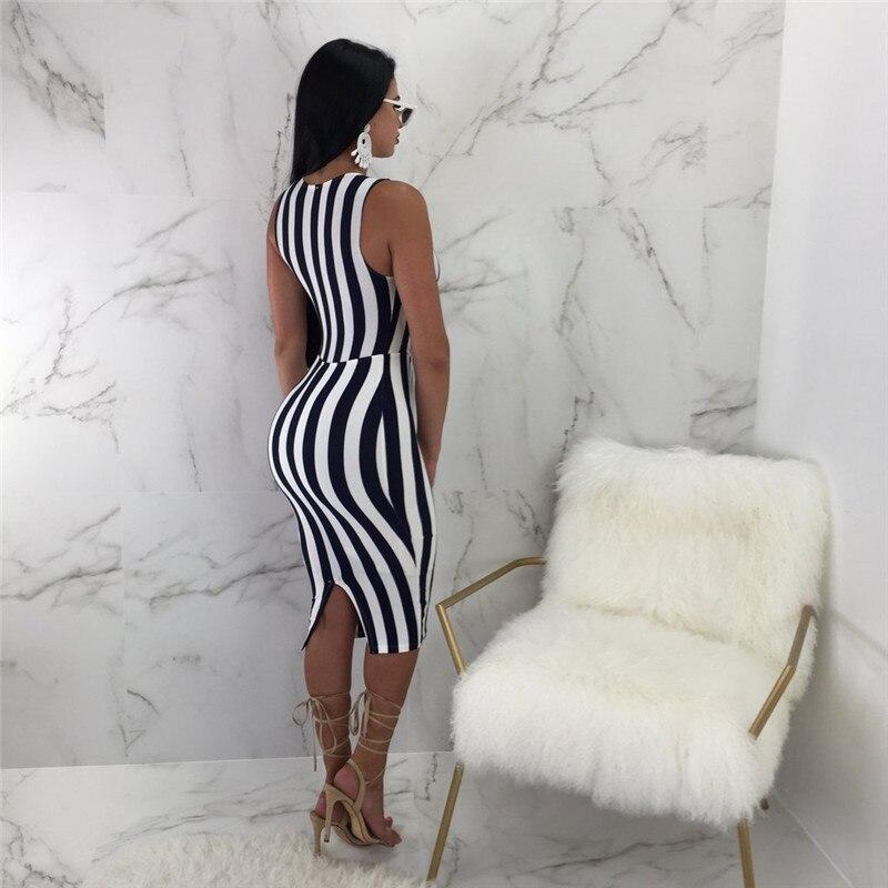 Черный, белый цвет платье в полоску Для женщин Sexy рукавов Полые вырезать лук Tie Front Bodycon Платья для вечеринок Клубная одежда летние платья Midi