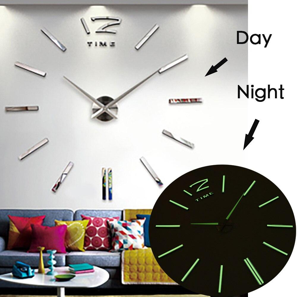 Breve grande relógio de parede digital design moderno 3d relógios saat reloj horloge relogio de parede klok grande espelho relógio de parede luminoso
