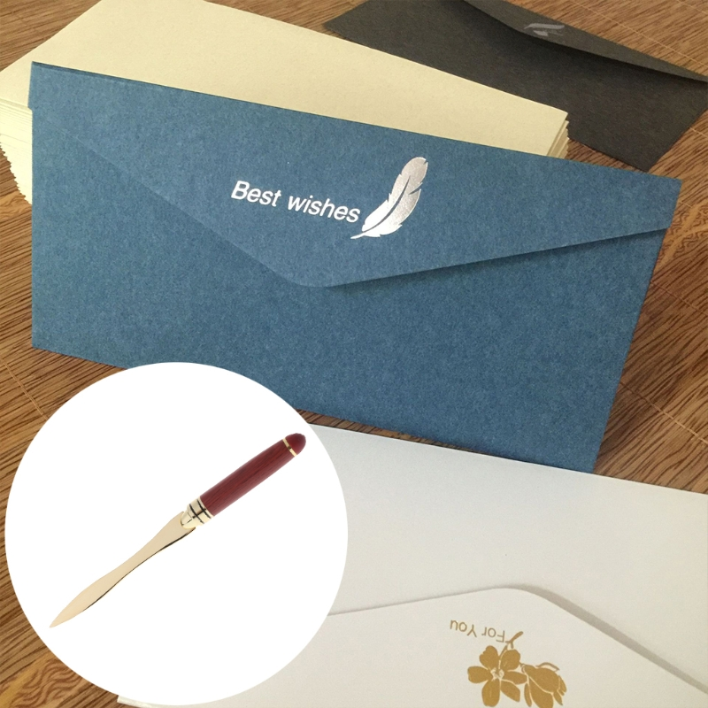 1 Pc Stainless Steel Letter Opener Wooden Handle Envelopes Cutting Knife Divided File High Quality