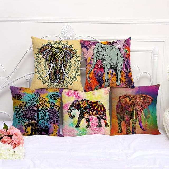 Color Painted Indian Elephant Bohemian Mandala Throw Pillow Decor Outdoor Cushion Fabric For Kids Party